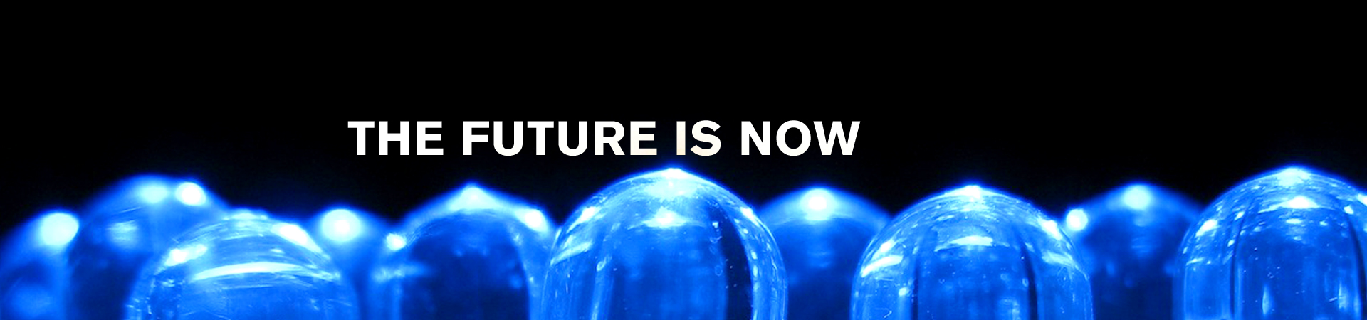 Future Is Now hero image vibrant blue